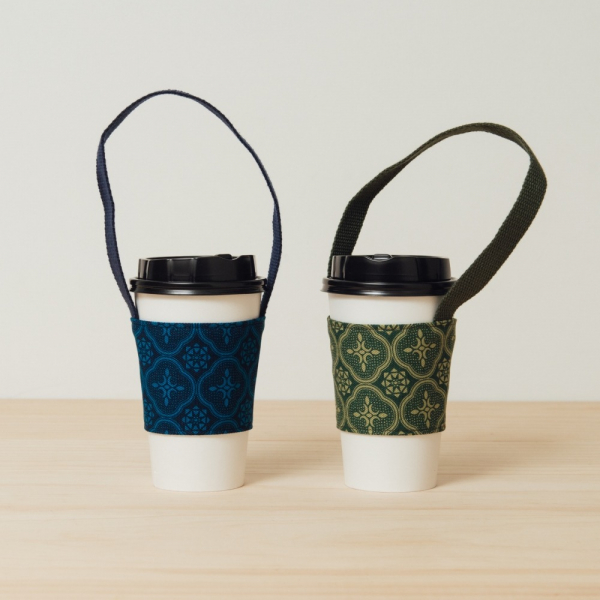 飲料杯提帶兩件組/玻璃海棠/深藍+草綠 飲料提袋