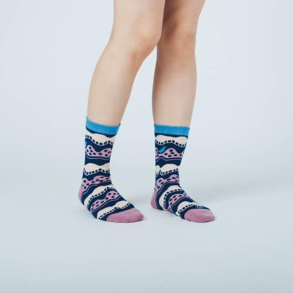 緹花中筒襪/印花樂 x Yu Square/浪花藍紫 針織襪, 中筒襪, 台灣襪子