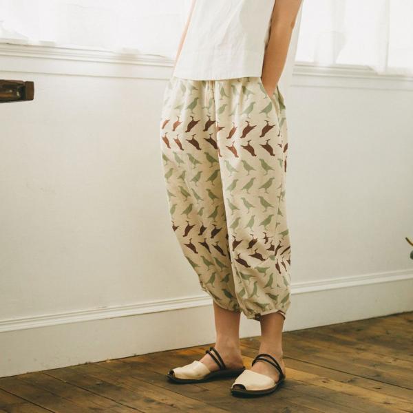抽繩寬版燈籠褲/台灣八哥5號/麻黃綠棕 燈籠褲