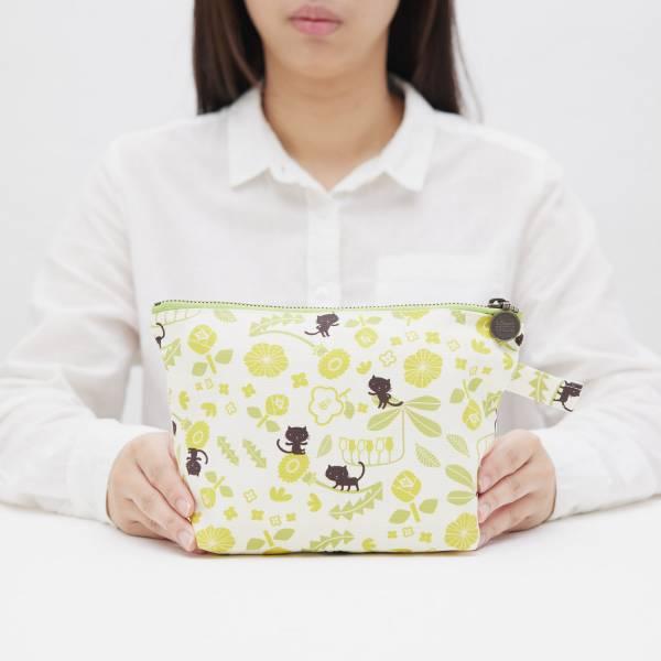 拉鏈梯形收納包/藝術家聯名/印花樂 x 米力/黃花與無辜貓 化妝包, 盥洗包, 收納包