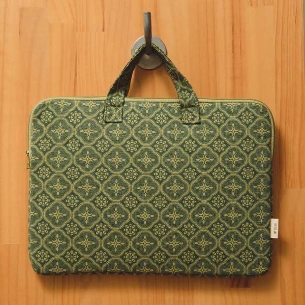 13吋筆電收納包/玻璃海棠/古董草綠 筆電包, 筆電袋
