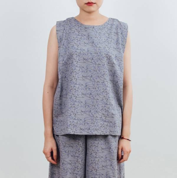 無袖打褶上衣/台灣八哥/灰藍黑 2019,女裝上衣,玻璃海棠