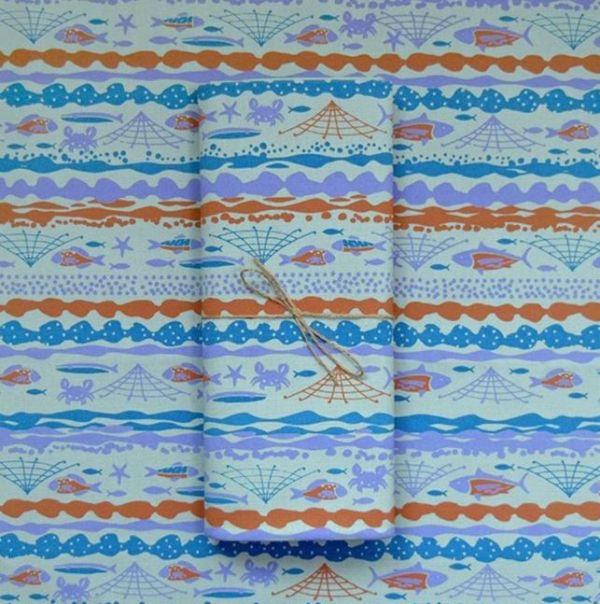 手印棉帆布-250g/y/海的寶物/魚群/粉灰綠