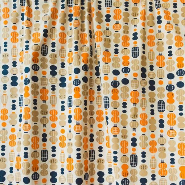 寬幅平織印花棉布/米力系列/燈籠/橘藍 布料, 棉布, 手作材料