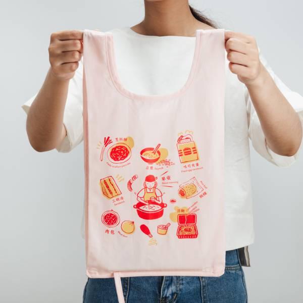 可收捲小背心袋/雜花/台灣早餐紅色 手提袋, 背心袋, 購物袋