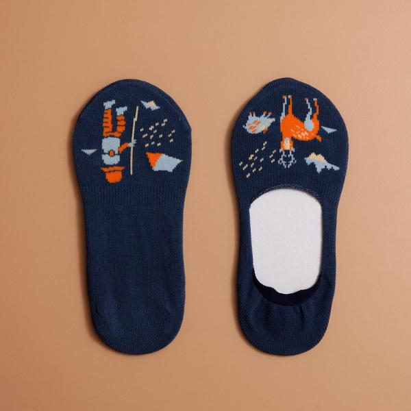 緹花踝襪/山中健行/深夜藍色 襪子, 踝襪, 緹花襪