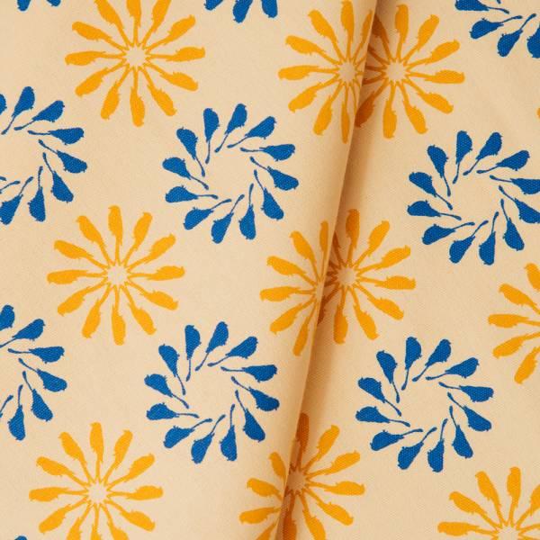 手印棉帆布_滿花-250g/y/烏秋圈圈/活躍藍黃 布料, 棉帆布, 手作材料