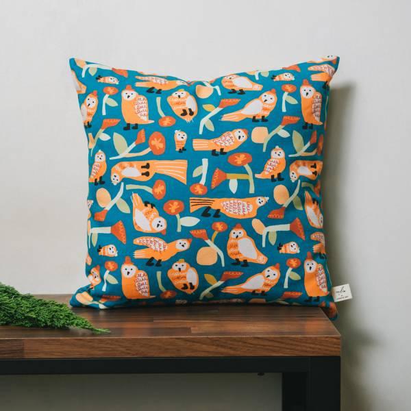 雙面抱枕套/藝術家聯名/印花樂 x UULIN/貓頭鷹與花/橘藍 抱枕套