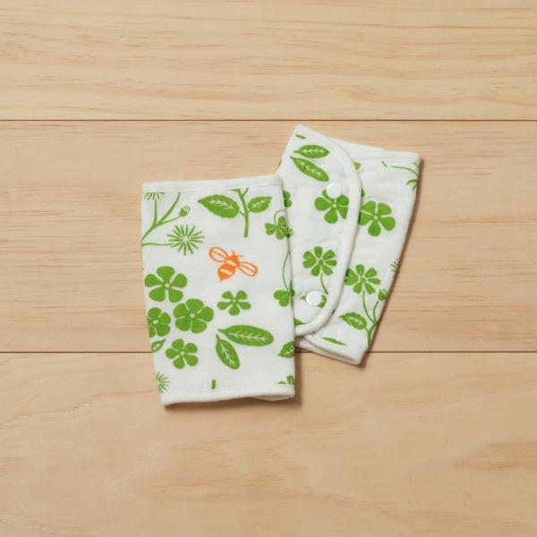 寶寶背帶口水巾二入組/野花草與蜜蜂/青草綠 口水巾, 背帶口水巾