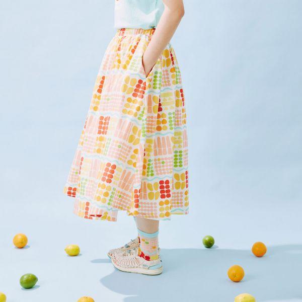 細褶寬擺傘裙/老派冰果室/牛奶白 戀夏冰果室 ,冰果室,復古印花,文青穿搭,裙子