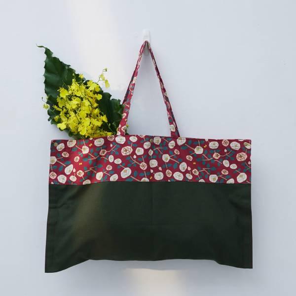 【限量】買花袋/藝術家聯名/印花樂 x 米力/玫瑰花紅色 買花,提袋,大容量提袋,環保袋
