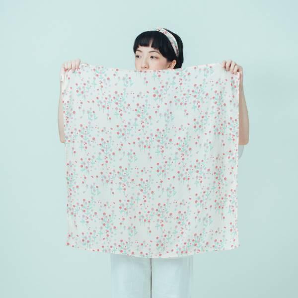 柔棉大方巾/花草台灣味/圓仔花粉紅 布巾, 包巾, 手帕