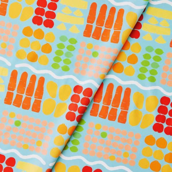 寬幅平織印花棉布(數位)/老派冰果室/冰藍色 戀夏冰果室 ,冰果室 ,復古印花,布料