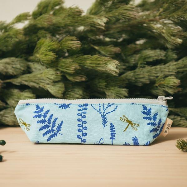 拉鏈筆袋/野花草與蜻蜓/花瓣藍紫 筆袋, 文具袋