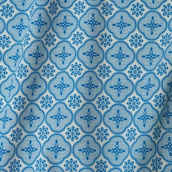 寬幅平織印花棉布/玻璃海棠/古典藍褐 布料, 棉布, 手作材料
