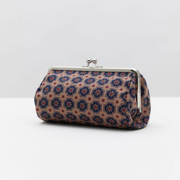口金圓筒化妝包/老磁磚2號/古董藍褐 口金包, 零錢包,化妝包