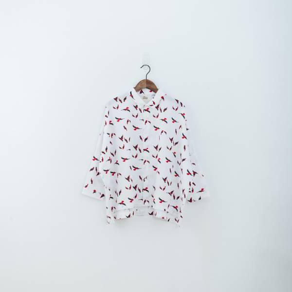 中性寬版八分袖襯衫/朱鸝/經典紅黑 中性襯衫,襯衫,花襯衫,印花布料