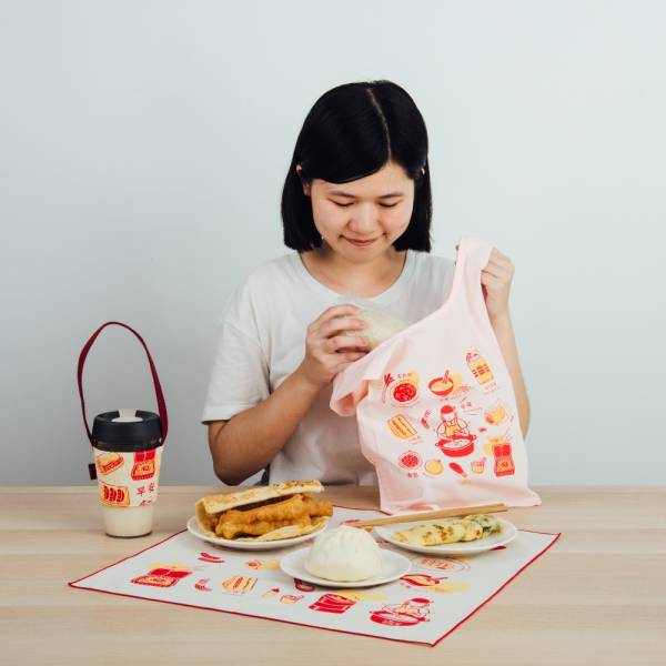 【早餐豪華組】台灣早餐系列-紅(含包布巾、飲料提袋、背心袋) 台灣早餐, 伴手禮, 飲料提帶, 環保袋, 包布巾