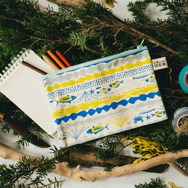 拉鏈文具袋-L14/海的寶物_魚群/香草黃 筆袋, 收納包, 文具袋, 化妝包, 盥洗包
