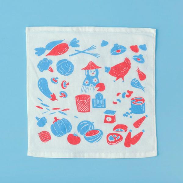 紗布小方毛巾/菜市場/假日紅藍 小方巾, 口水巾
