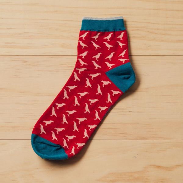 緹花短襪/台灣八哥/果實紅 襪子, 短襪, 緹花襪