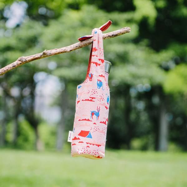 【有機棉】兔耳水壺袋/山中健行/花卉藍紅 飲料提袋,環保飲料提袋, 隨行杯提袋, 兔耳袋