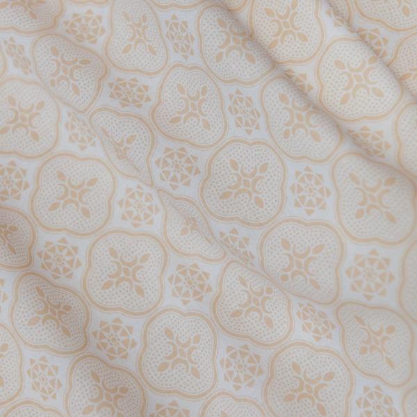 寬幅平織印花棉布/玻璃海棠/杏仁淺褐 布料, 棉布, 手作材料