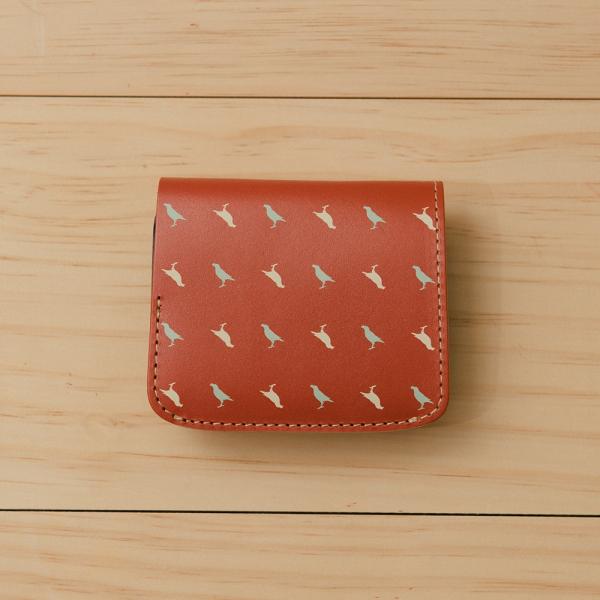 印花掌心皮夾/台灣八哥/燕脂紅色 長夾, 短夾, 錢包, 皮件, 皮夾
