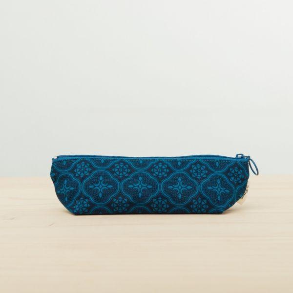 拉鏈筆袋/玻璃海棠/宅邸深藍 文具,筆袋,玻璃海棠