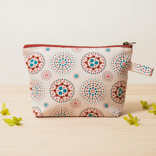 拉鏈梯形收納包/煙火/絢爛粉紅 化妝包, 盥洗包, 收納包