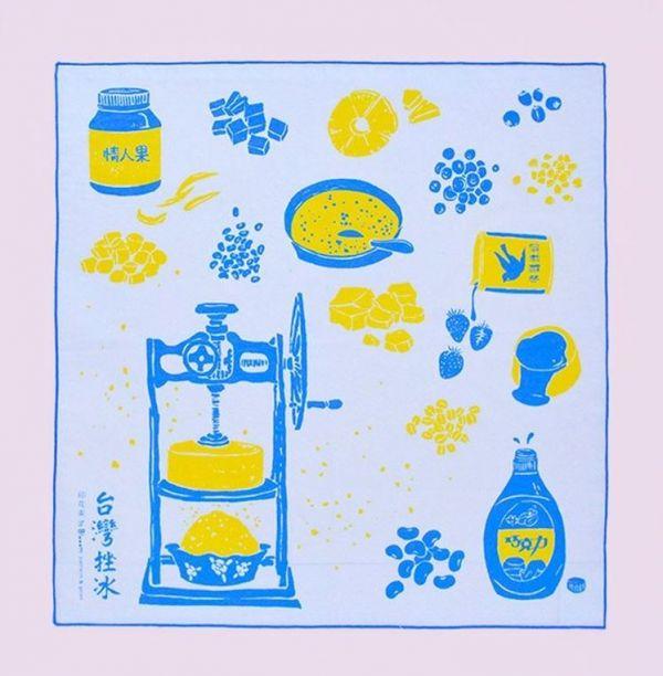 包布巾/台灣剉冰/懷舊黃藍 布巾, 包巾, 手帕