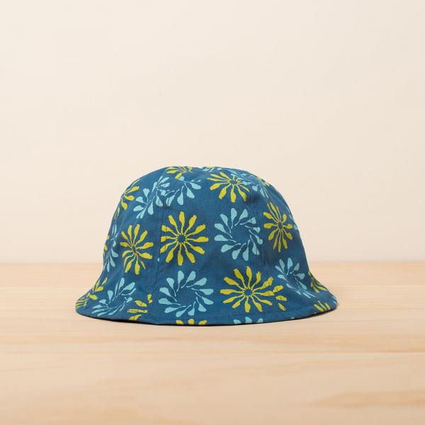 花瓣帽-兒童/烏秋圈圈/自在藍綠 兒童遮陽帽, 兒童帽, 花瓣帽