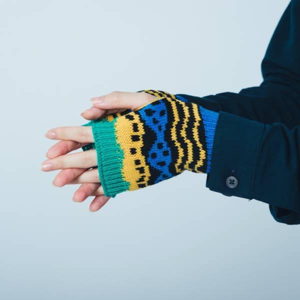 緹花無指手套/印花樂 x Yu Square/浪花黑藍黃 針織手套, 半指手套, 露指手套, 保暖手套