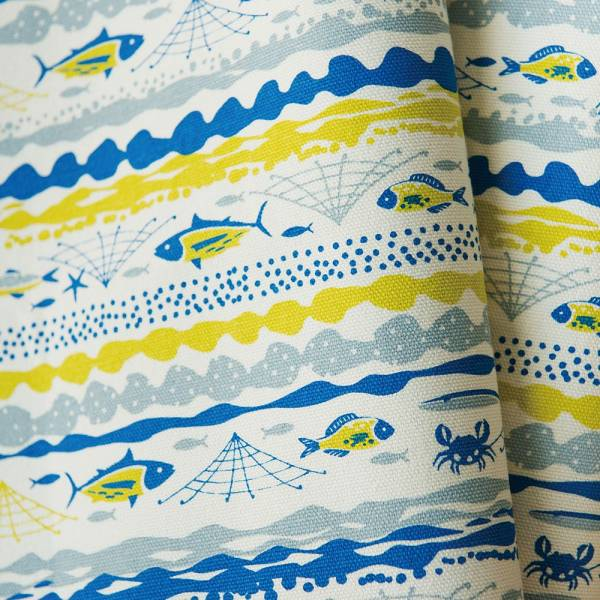 手印棉帆布-250g/y/海的寶物_魚群/香草黃 布料, 棉帆布, 手作材料
