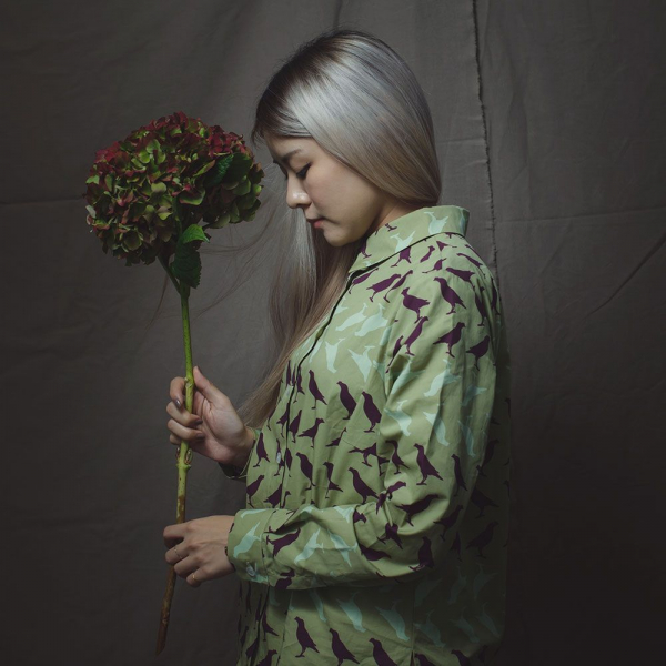 長袖襯衫-女款/台灣八哥5號/油畫紫綠 襯衫, 長袖襯衫