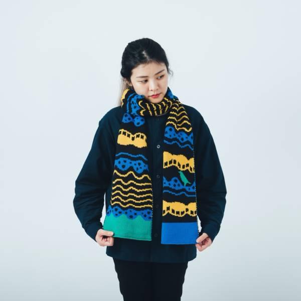 緹花圍巾/印花樂 x Yu Square/浪花黑藍黃 圍巾, 針織圍巾