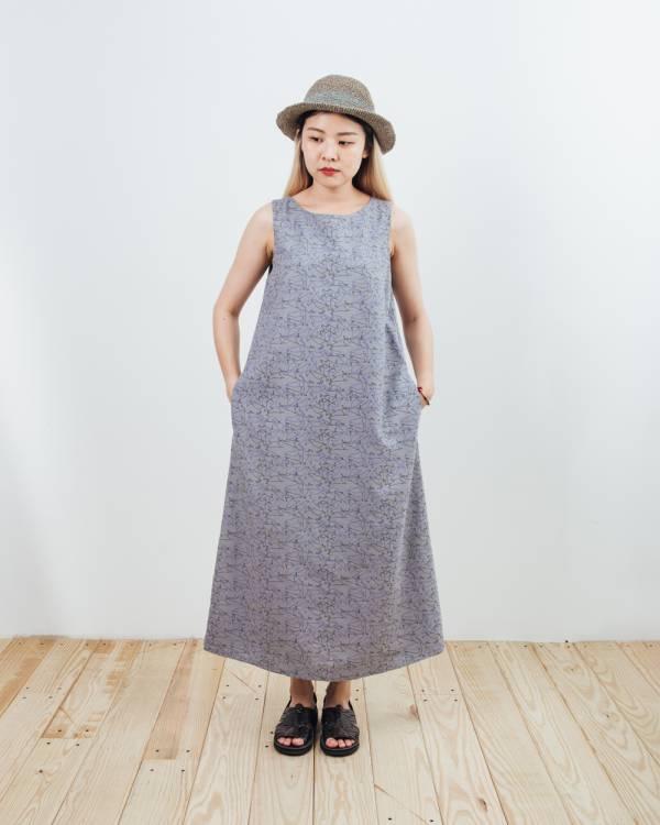 A字連身長洋裝/台灣八哥/灰藍黑 2019,連身裙,洋裝,台灣八哥