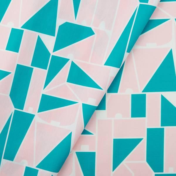 寬幅平織印花棉布/藝術家聯名/印花樂 x LEMONNI/粉綠 布料, 薄棉布