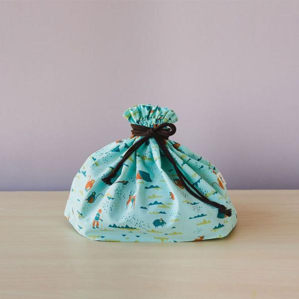 束口旅行衣物袋-M/山中健行/粉霧淡藍 旅行衣物袋