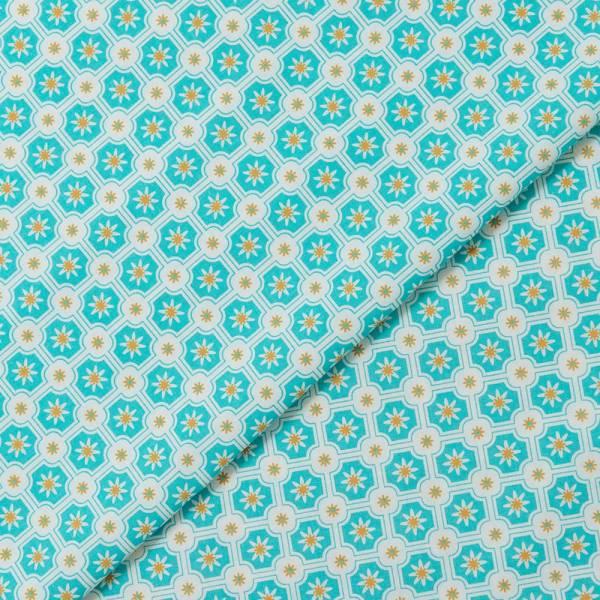 寬幅平織印花棉布/老磁磚2號/小溪藍綠 布料, 薄棉布