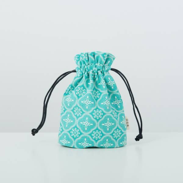 束口小物袋/玻璃海棠/冰晶藍綠 束口袋, 收納袋