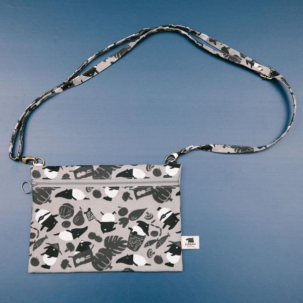 側背橫式扁袋/限定花色/印花樂x馬來貘-黑白菜市場 隨身包, 側背包