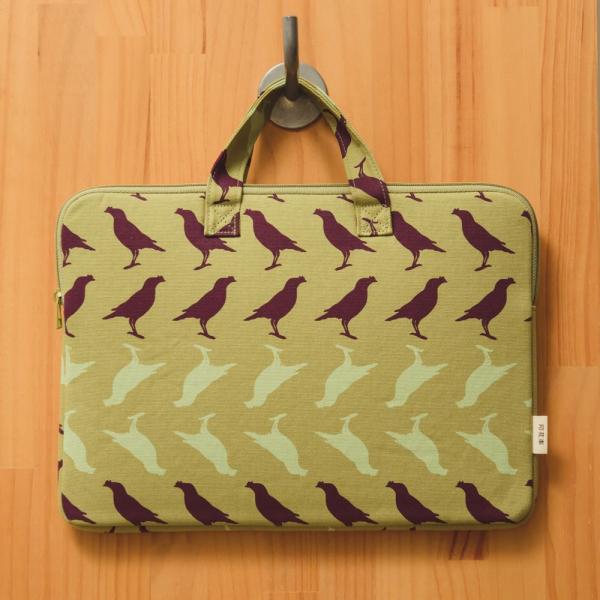 13吋筆電收納包/台灣八哥5號/油畫紫綠 筆電包, 筆電袋