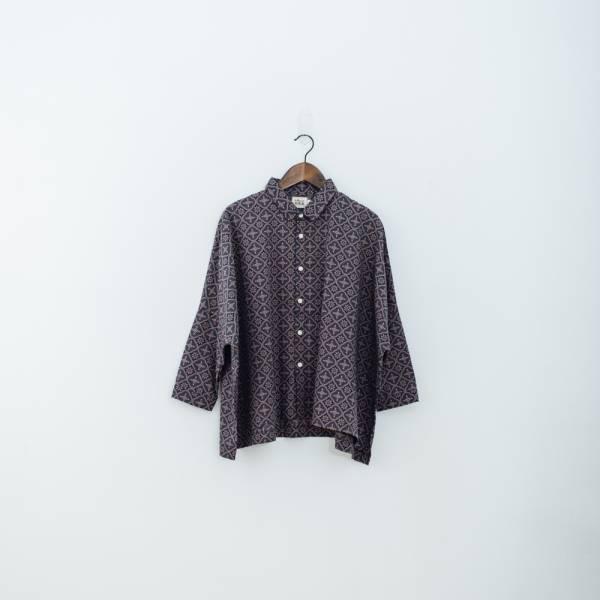 中性寬版八分袖襯衫/玻璃海棠/午夜藍褐 中性襯衫,襯衫,花襯衫,印花布料