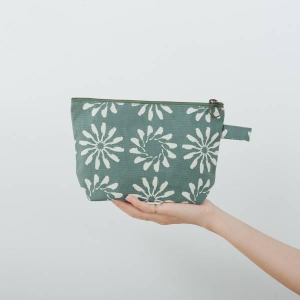拉鏈梯形收納包/烏秋圈圈/水鴨綠色 化妝包, 盥洗包, 收納包