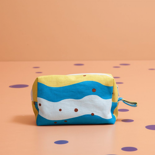 拉鏈長方收納包/珍珠奶茶/清新藍綠 收納包, 化妝包, 盥洗包