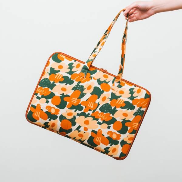 15.5吋筆電收納包-差旅款/藝術家聯名/印花樂 x UULIN/荷包蛋花朵/橘色 筆電包, 筆電袋, 電腦包