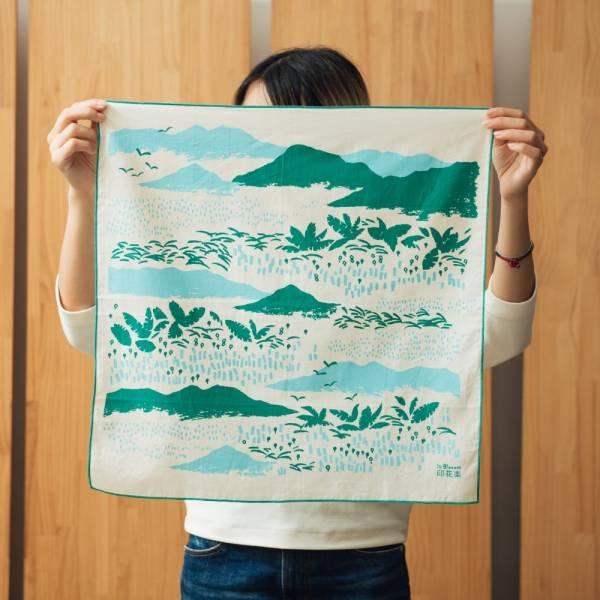 包布巾-50x50/雜花/縱谷綠 包布巾, 手帕, 領巾