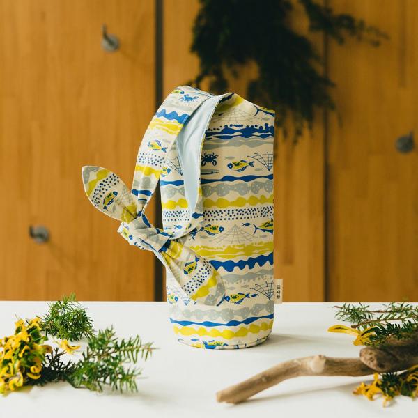 大大兔耳袋/海的寶物_魚群/香草黃 環保飲料提袋, 隨行杯提袋, 兔耳袋