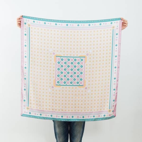 印花絲巾-90x90/雜花/馬賽克磁磚/粉綠 絲巾